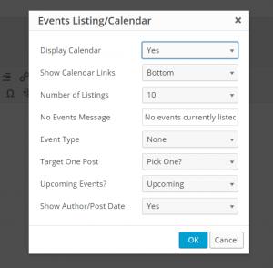 Popup Calendar editor
