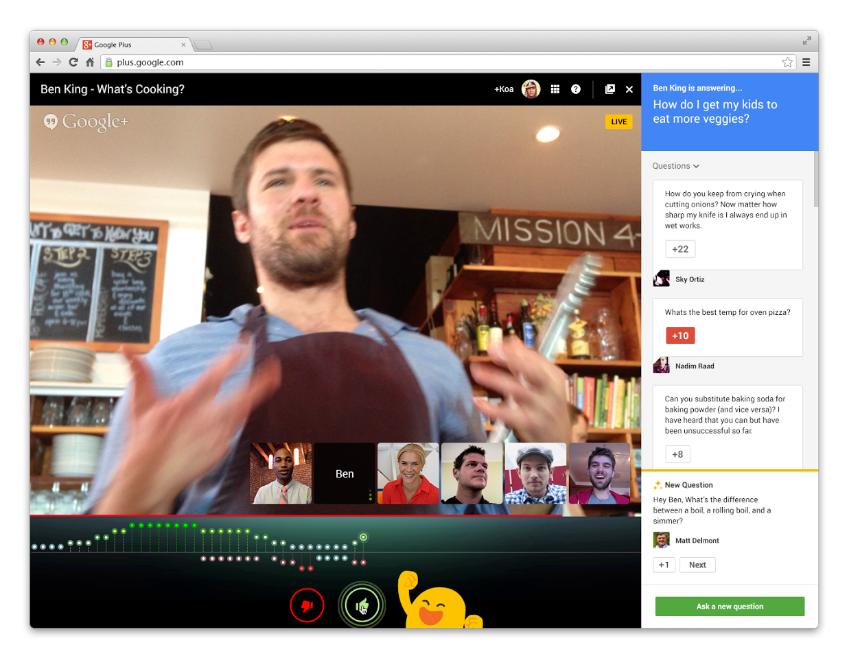 A Hangouts on Air session with Q&A enabled.