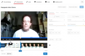 Trimming a section from a YouTube video, such as a Hangouts replay.