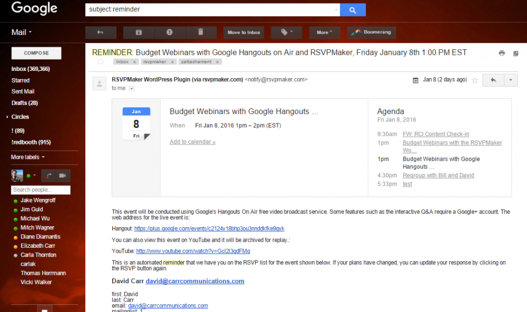 An RSVPMaker reminder message in GMail.