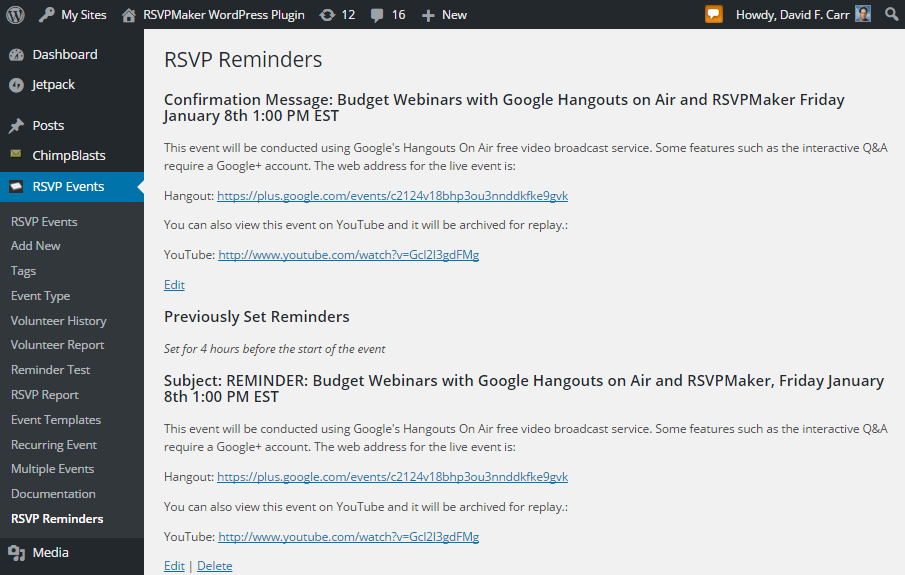 Create and edit confirmation messages and reminders on the RSVP Reminders screen.