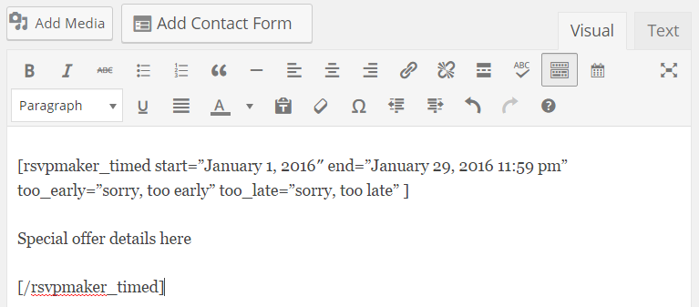 rsvpmaker_timed coding wrapped around a paragraph for conditional display.