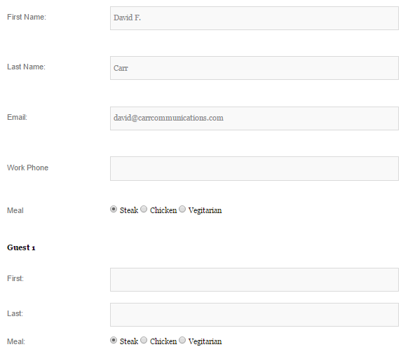 Custom fields for host and guests.