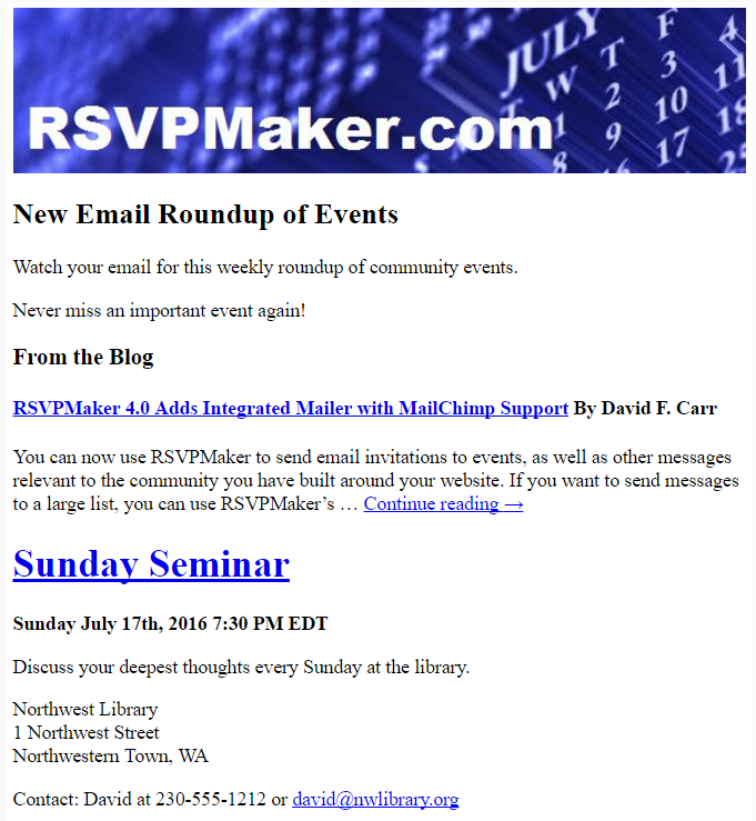 A sample newsletter driven by RSVPMaker.