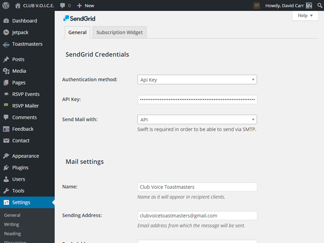 SendGrid WordPress settings