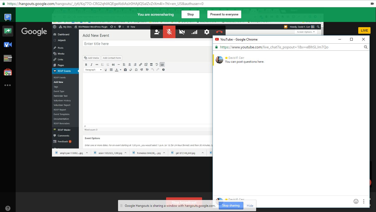 A YouTube Live session with the pop-up chat window displayed.