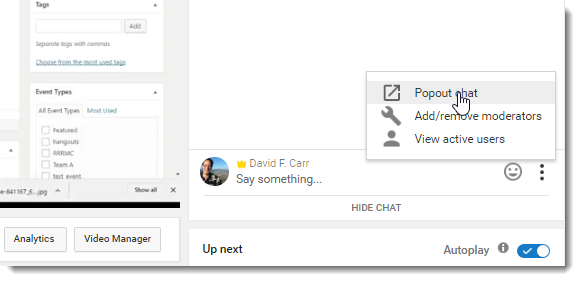 Displaying the YouTube chat in a popup window.