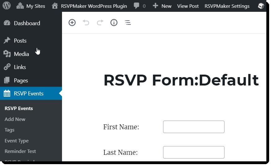 Screenshot: For default form, menu link points back to RSVPMaker Settings