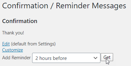 Screenshot: Setting reminder messages