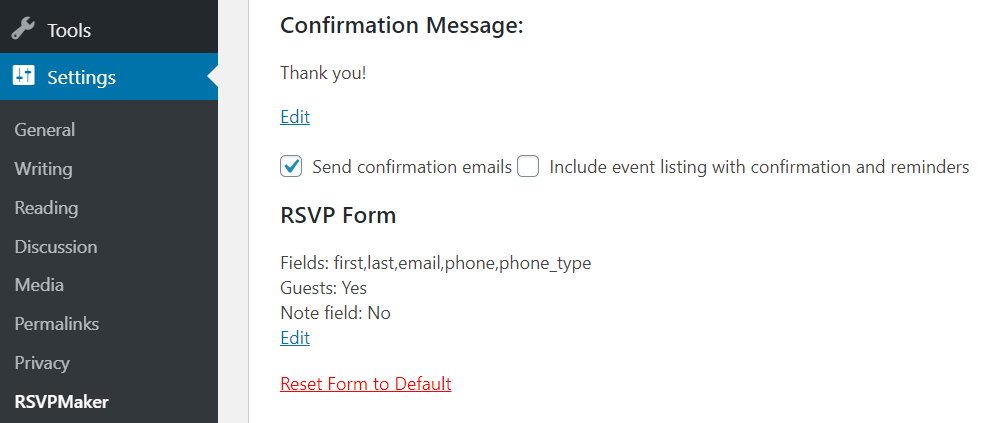 Screenshot: Confirmation message and link to edit it on the RSVPMaker Settings screen