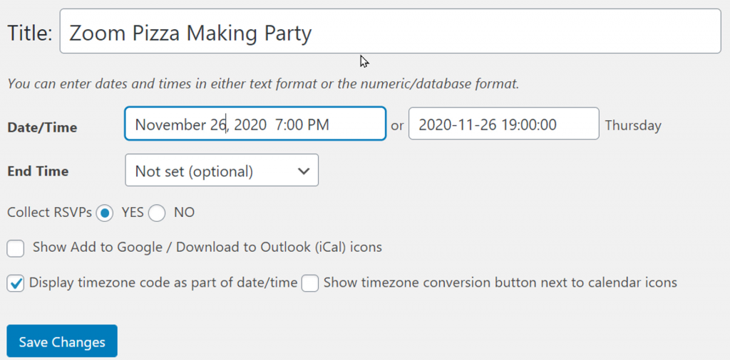 RSVPMaker user interface for setting the date and time